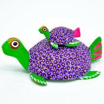Handmade Alebrijes Oaxacan Wood Carving Folk Art Mom & Baby Sea Turtle Figure image 3