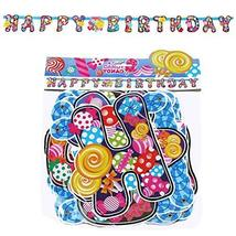 PANDA SUPERSTORE Set of 2 [Lollipop] Happy Birthday Banners Kids Party Banners D