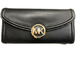 Michael Kors Fulton Carryall Continental Flap Clutch Wallet Black & Gold... - $51.47