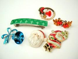 Lot of Vtg Christmas Santa Holly Bell Jewelry B.J. Hong Kong - $18.80