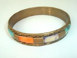 Metal Bracelet Boho Vintage Brass Bangle Colorful Insets hippie festival - $11.87