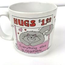 Vtg RUSS Berrie cat hugs mug coffee cup kitty crazy cat lady gift hearts kitsch - $15.83