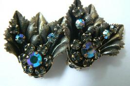 Purple Aurora Borealis Crystal Floral Leaf design gold tone clip on Earrings - $27.72
