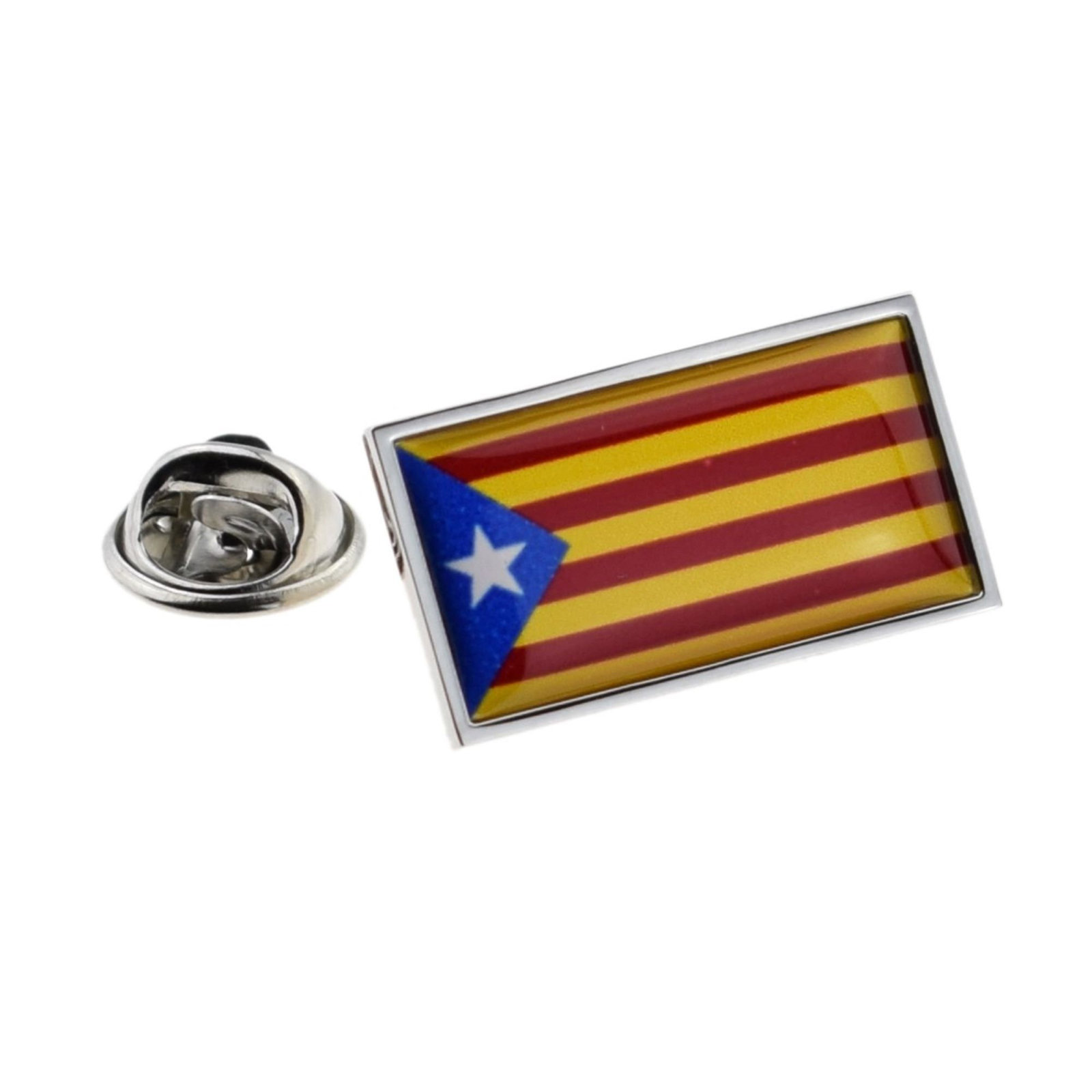 Catalonia Flag Flag  lapel pin  handmade in uk from uk made parts, boxed tie,lap