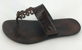 Sam Edelman Beaded Slip On Thong Leather Sandals Size 5.5 Brown Made in Brazil - $17.59