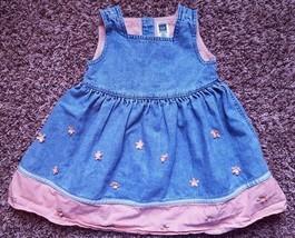 Girl's Size 24 M 18-24 Months Baby Gap Blue Denim Floral Peach Skirted D... - $18.00