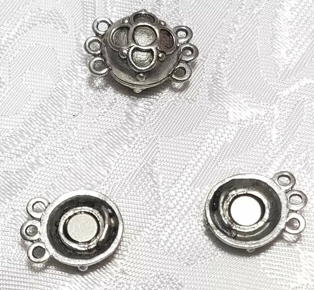 THREE STRAND MAGNETIC FINE PEWTER CLASP SET - 12x19x10mm