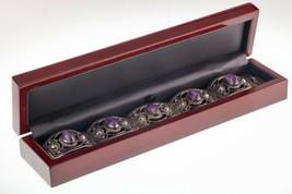 """Vintage Mexico Argent Sterling Améthyste Bracelet Lien 7.25 """" - $212.85"""