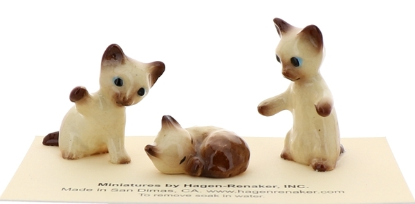 Hagen-Renaker Miniature Cat Figurine Siamese Kittens 3 Piece Set Chocolate Point