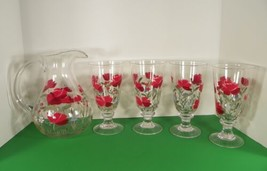 Handpainted Red Floral Water Iced Tea Pitcher with 4 Goblet Tumblers 5-pc Set - $59.35