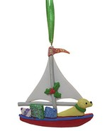 Cape Shore Dog On Sailboat w/Presents Clay Christmas Ornament - $6.88
