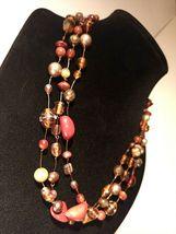 Unique 3 Strand Treasure Necklace w/ Pearls Stones Murano Glass and MUCH MORE! image 9
