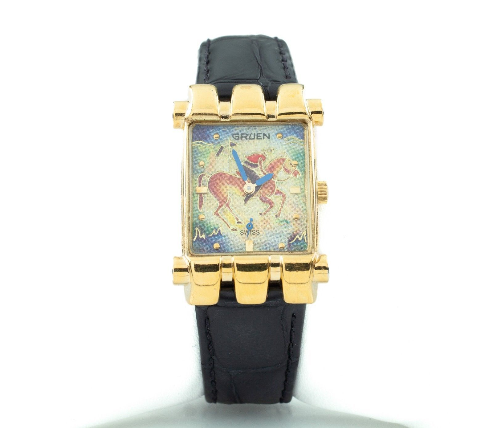 """Gruen Gold-Plated Quartz Watch w/ Leather Band """"The Polo Player"""" Nice! - $594.00"""