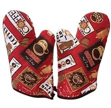 PANDA SUPERSTORE Country Style Canvas Heat Insulation Gloves/Oven Mitts/Red (2-P