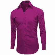 Omega Italy Men's Slim Fit Button Up Long Sleeve Magenta Dress Shirt w/ Defect image 2