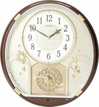 "Seiko Starry Night Melody in Motion 15"" Clock Brown Metallic Swarovski C... - $191.47"