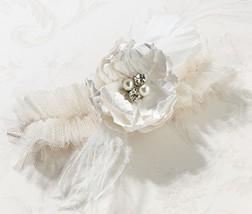 Lillian Rose Vintage Cream Tulle Flower Prom Wedding Garter - $13.53