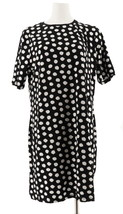 Isaac Mizrahi Choice Print Elbow Slv T-Shirt Dress Black Dot M NEW A307531 - $35.62