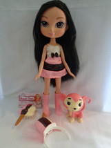 Yummi Land Nikki Neopolitan Ice Cream Pop Doll & Pink Monkey Brunette Ha... - $24.70