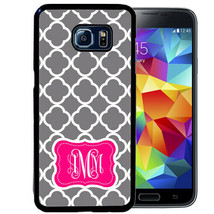 Monogram Case Fits Samsung Galaxy S10 S9 S8 S7 Gray Quatrefoil Hot Pink - $13.98