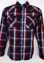Levi's Men's Western Rockabilly Blue Red Madras Plaid Pearl Snap L/S Shi... - $15.14