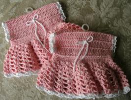 Handmade Crochet Dress Mini Microwave Potholders Set of 2 Potholders New... - $11.99