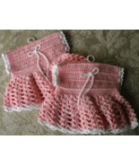 Handmade Crochet Dress Mini Microwave Potholders Set of 2 Potholders New Unused  - €10,10 EUR