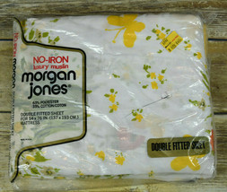 Vtg NIP Morgan Jones Muslin Double Fitted Sheet Bonnie Bouquet Flower Bu... - $19.80