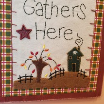 """Wooden Plaque """"Family Gathers Here"""", fall harvest country decor, fabric buttons image 3"""