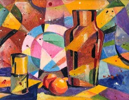 """Akimova: STILL LIFE, cubizm, wax painting, 9""""x12"""" - $11.00"""