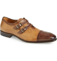 Handmade leather Men's two tone monk strap dress shoes Custom shoes for men - $159.99+