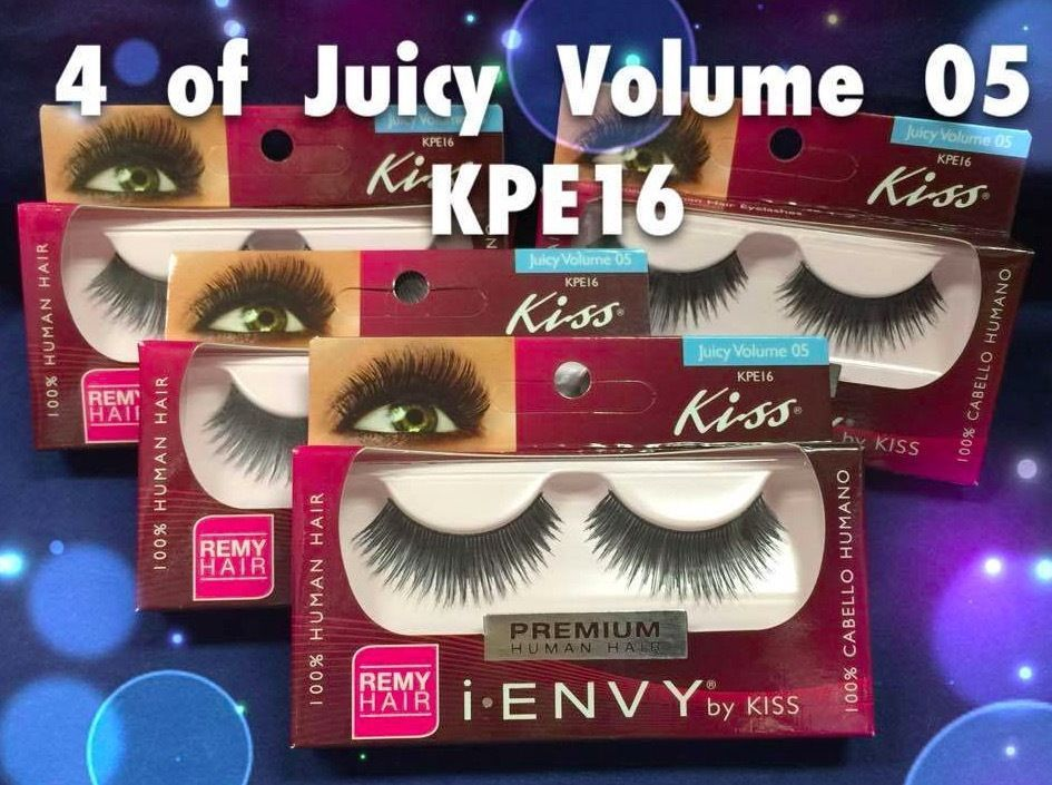 4 OF I ENVY by KISS PREMIUM JUICY VOLUME 05 LASHES KPE16 100% REMY HUMAN HAIR