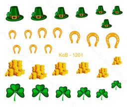 Nail Art Water Transfer Sticker St. Patrick 's Day Green Hat Gold  KoB-1201 - $2.89