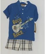 Little Rebels Boys Two Piece Born 2 Rock Shirt Shorts Outfit 24 Months - $14.99