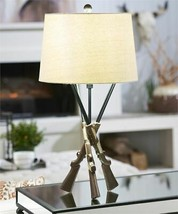 "29"" Rustic Shotgun Design Table Lamp with Shade and Tripod Base"