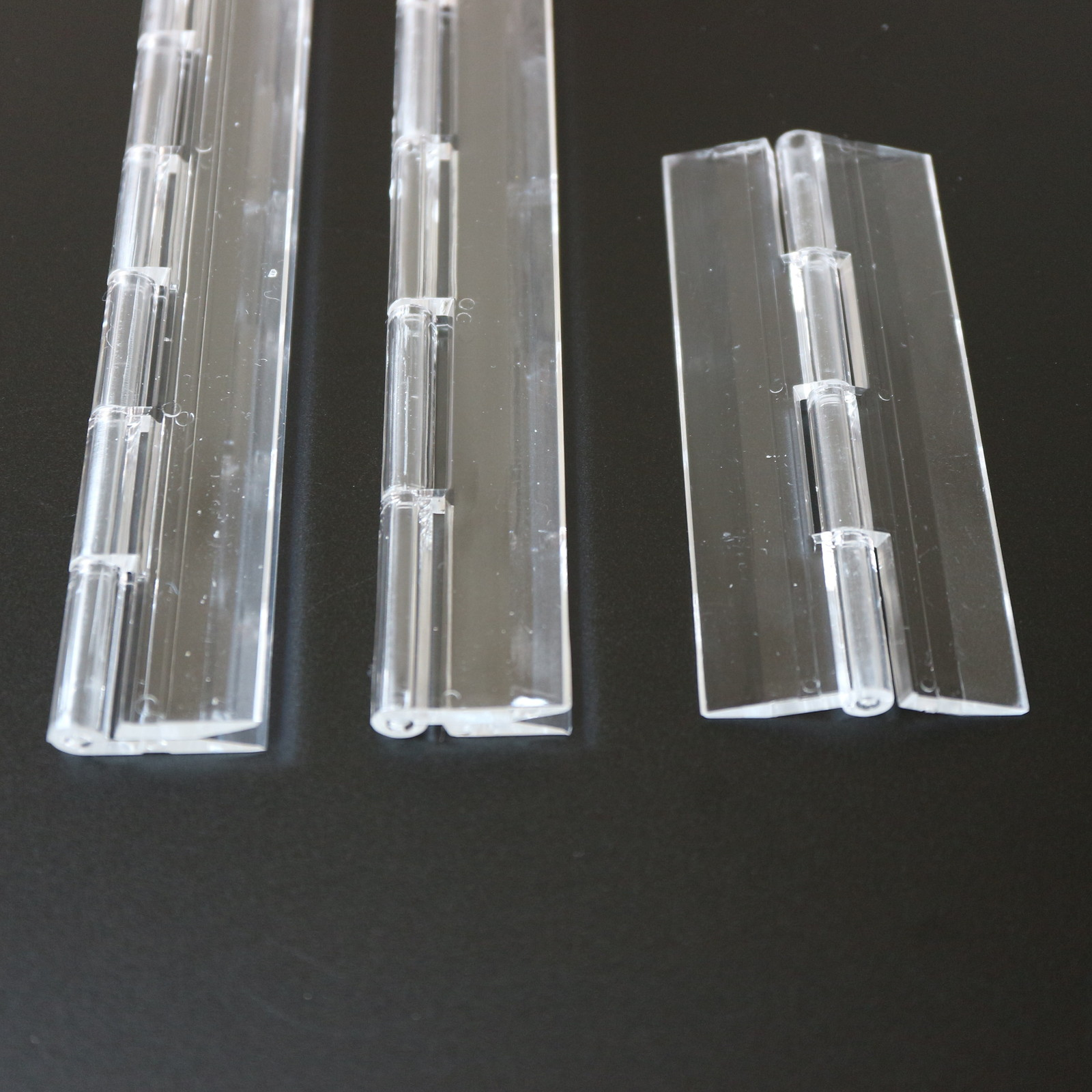 Primary image for Triple Pack- 3 x Clear Acrylic Plastic Piano Continuous Hinges 100mm 200mm 300mm