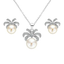 925 Sterling Silver CZ AAA Button Cream Freshwater Cultured Pearl Palm T... - $57.35