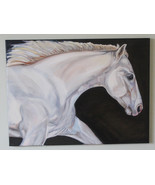White Horse Oil Painting/ equestrian gift/ large horse wall art/ running... - $460.00