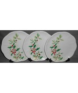 Set (3) Lenox WINTER MEADOW PATTERN - HOLLY Luncheon Plates HOLIDAY-CHRI... - $69.29