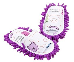 Cute Cleaning Slippers Fuzzy Slippers for Children Feet Length 20 CM -Purple - $19.27