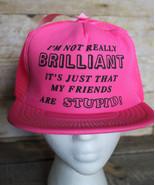 80s 90s Vintage Fun STUPID FRIENDS Retro Neon Pink Snapback Trucker Hat ... - $33.85