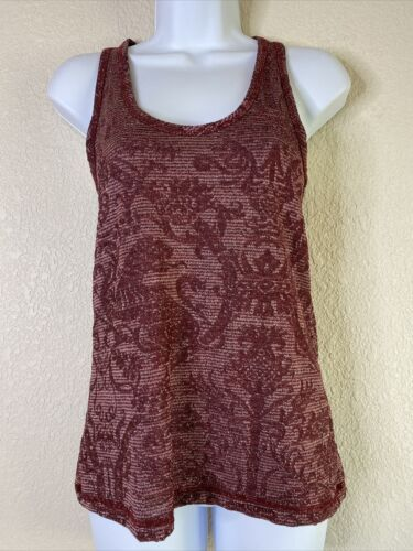 Primary image for BKE Buckle Women Size XS Maroon Metallic Tank Top Sleeveless Paisley