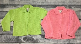 Lot of 2 Girls Gymboree Green and Pink Sweaters Size Large 4-5 years - $23.36