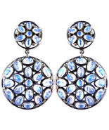 New Moonstone 925 Silver 0.39ct Diamond Dangle Earrings Vintage Inspired... - $336.60
