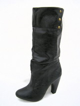 """Qupid Mid-Calf Slouchy Boots Women's 7M Black 4"""" Heels Foldover Tops Excellent - $28.46"""