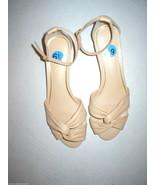 New $129 Ralph Lauren Mireya Wedge Low Leather Beige Cream 6 Womens Open... - $38.00