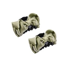 [Set Of 2] Handmade Mesh Bowknot Jaw Clip Hair Styling Claws, 3.7 inches, LIME