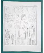 GODS Gorgon Medusa Scylla Sacrifice Tools Sphinx Circe - 1828 Antique Print - $14.40