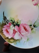 Noritake Hand Painted Cake Plate Roses Gold Trim Handles Japan - $25.62