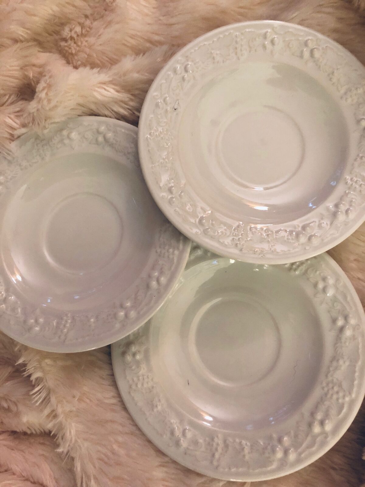 Homer Laughlin Saucers Creamy White Lot of 3 Great Condition 6""
